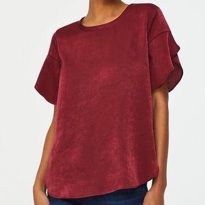 NWT Crimson Satin Petal Sleeve Blouse